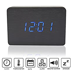 Anten Multi-function Display Wood Clock LED Digital Alarm Clock Snooze Voice Sound Control USB/AAA Time Date Temperature Display Blue Light Black 4.72x3.15x1.50 inch