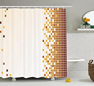 Mosaic Shower Curtain by Ambesonne, Fractal Little Squares Ceramic Motif in Digital Pixels Grid Illustration, Fabric Bathroom Decor Set with Hooks, Dark Orange Apricot