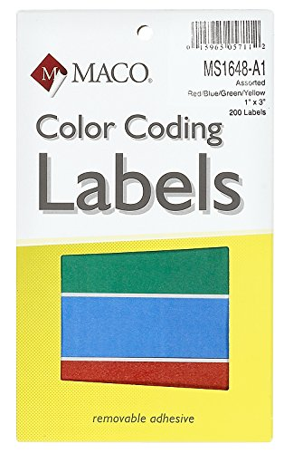 MACO Assorted Primary Rectangle Color Coding Labels, 1 x 3 Inches, 200 Per Box - A1 Canvas Blank