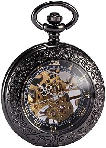 機械式懐中時計レトロな男性と女子学生のフリップ中空懐中時計古い懐中時計クリエイティブシンプル、色名:4 (Color : 1)