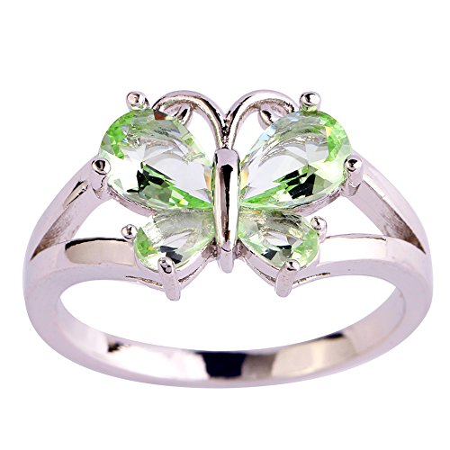Psiroy 925 Sterling Silver Created Green Amethyst Filled Butterfly Ring Size 7