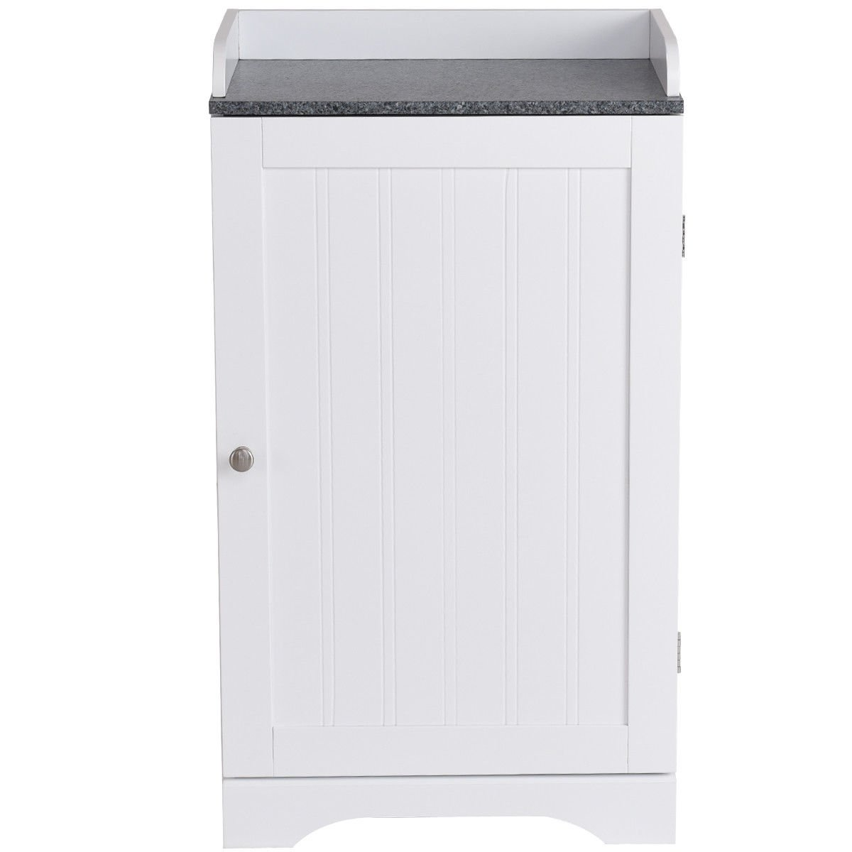 White Wood Bathroom Floor Cabinet w/ 2 Adjustable Shelves