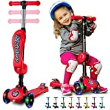 2-in-1 Scooter for Kids with Folding Removable Seat Zero Assembly - Adjustable Height Kick Scooter for Toddlers Girls & Boys 2-12 Years-Old - Fun Outdoor Toys for Kids Fitness 3 LED Flashing Wheels