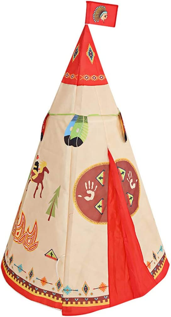 Kaibaoxi Teepee Tent for Kids Foldable Children Play Tent for Girl and Boy with Carry Case Poles Indian Style Playhouse Toy for Indoor and Outdoor Games