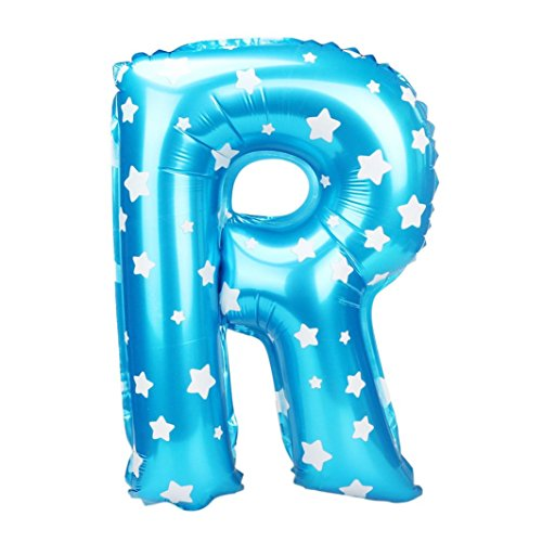 Fancy Dress Letter R (CSSD A to Z Letter Wave Point Foil Balloons Party Ballon Blue 16 inch (R))