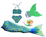Mayskey Girls Sparkle Mermaid Tail With Monofin Swimmable Tail Swimsuit 4PCS Sets (1140 (10-12Years), Water Green)