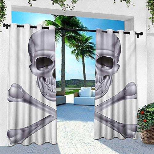 leinuoyi Grey, Outdoor Patio Curtains, Vivid Skull and Crossed Bones Dangerous Scary Dead Skeleton Evil Face Halloween Theme, Outdoor Privacy Porch Curtains W84 x L108 Inch Dimgray