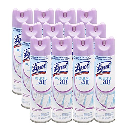 Lysol Neutra Air Sanitizing Spray, Morning Linen, 120oz (12X10oz), Air Freshener, Odor Neutralizer