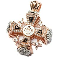Silver 925 Gold 18k Plated Jerusalem Cross Pendant Black Enamel Crystallized Elements 1.3