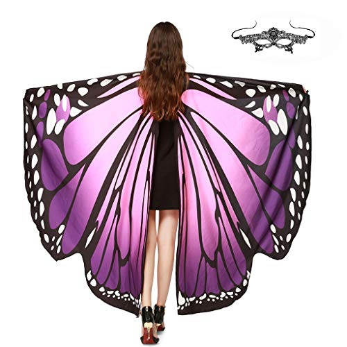 GRACIN Halloween Butterfly Wings Shawl Soft Fabric Fairy Pixie Costume Accessory (Choker Ties, Purple(with Matching mask))]()