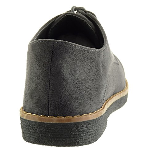 coutures CM bloc femme Talon finition Gris 5 Chaussure Derbies Mode 2 surpiqûres Angkorly ApYxOPqA
