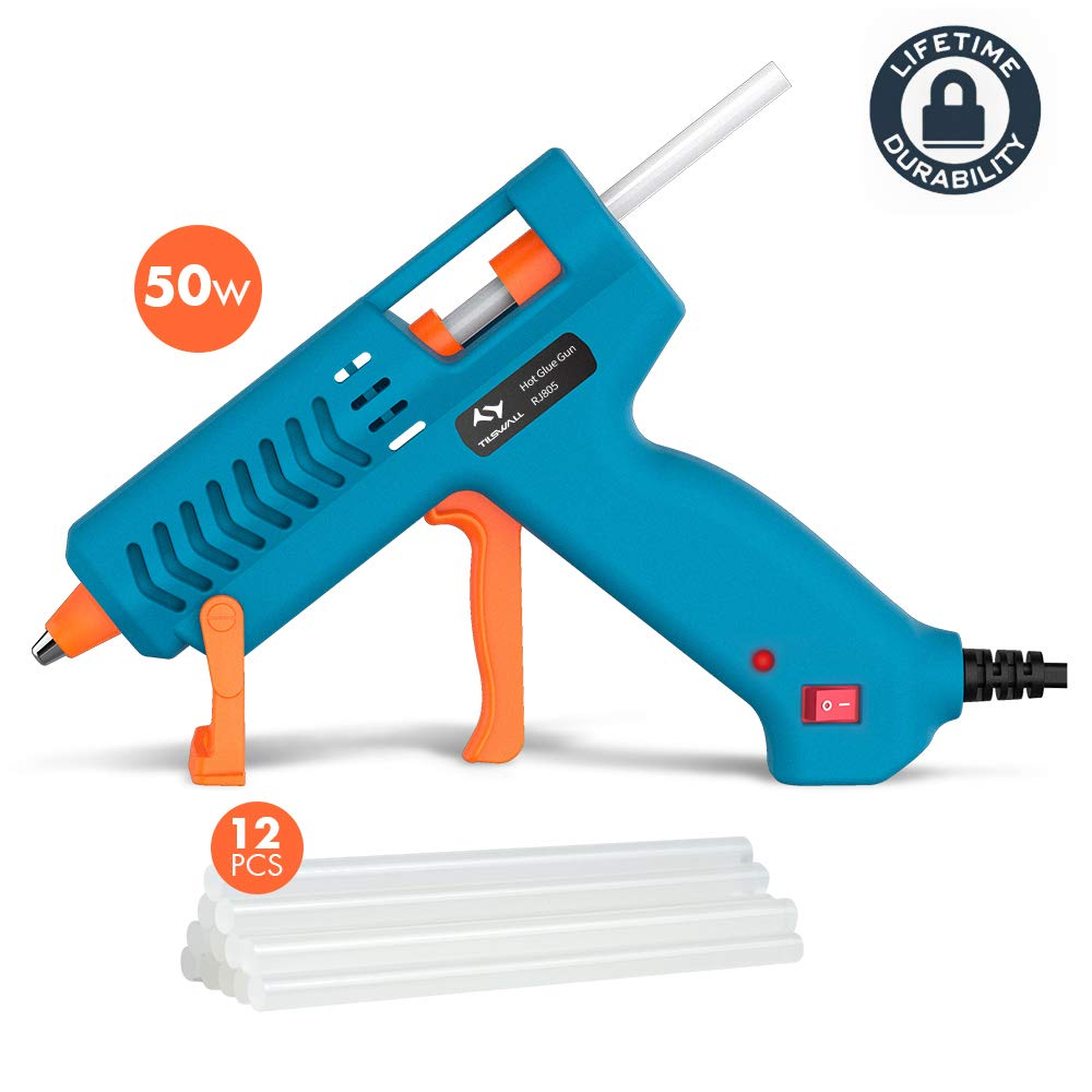 Hot Glue Gun 50W Tilswall Mini Melt Gun Electric Heats Up Quickly with 12pcs 130mm Glue Sticks Kit, 3 Patents Design, ON-Off Switch for Art, Craft, Sealing, DIY, Home Repairs, Card, Wood, Glass