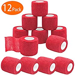 """Tretree Self-Adherent Cohesive Tape, 12-Pack Strong Sports Tape for Wrist, Ankle Sprains & Swelling, Self-Adhesive Bandage Rolls, Vet Tape Vet Wrap, 2"""" Wide x 5 Yards(2 - INCH Red)"""