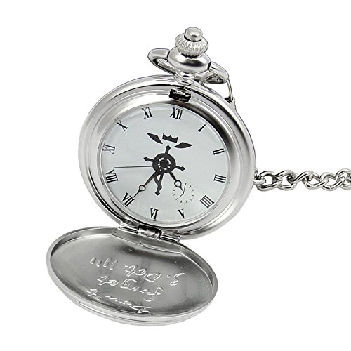 Topwell Full Metal Alchemist Pocket Watch Necklace Ring Edward Elric Anime Cosplay Gift