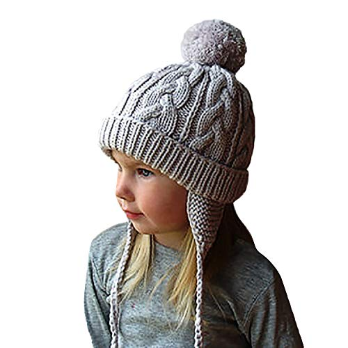 (Lucoo Baby Winter Hat,Toddler Kids Girls Boys Knitting Pompon Headgear Warm Ear Guard Outdoors Hat Cap (Gray))