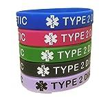 Type 2 Diabetes Bracelets Silicone Medical Alert