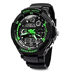 TOPCABIN Digital-analog Boys Girls Sport Digital Watch with Alarm Stopwatch-50m Water Proof Green