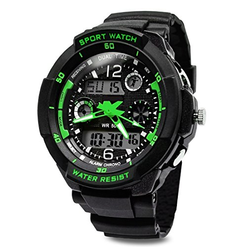 TOPCABIN Digital-analog Boys Girls Sport Digital Watch with Alarm Stopwatch-50m Water Proof Green
