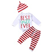 Baby Boys Girls BEST GIFT EVER Long Sleeve Bodysuit and Striped Pants With Hat Outfits Set