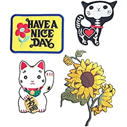 Set Patch of Iron on Patches #4, Sun Flowers Patch, Have a Nice Day Vintage patches,,Maneki-neko Japan Patch Cat iron on Patch,Shock Skeleton Skull X-ray Cat Patch Embroidered Iron On / Sew On Patches