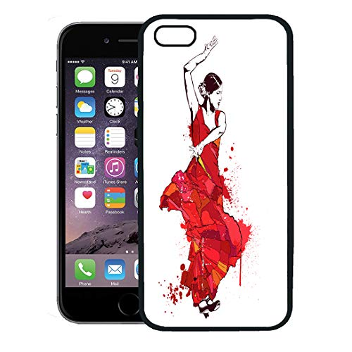 Semtomn Phone Case for iPhone 8 Plus case,Colorful Spain Vintage Spanish Girl in Red Dress Dances Flamenco Dancer Lady iPhone 7 Plus case Cover,Black -