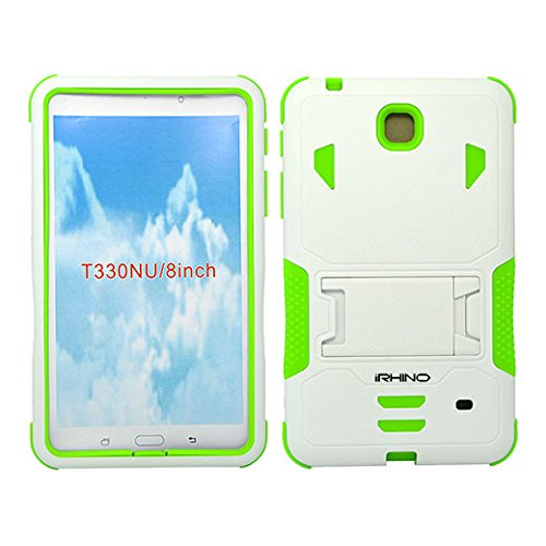 [iRhino] TM WHITE-GREEN Heavy Duty rugged impact Hybrid Case cover with Build In Kickstand Protective Case For Samsung galaxy Tab 4 8.0 inch T330 Tablet (Tab 4 Green Case Galaxy)