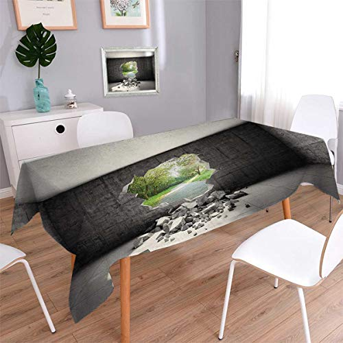 Anmaseven Grey Rectangle Dinning Tabletop Decor Concrete Room with a Hole in the Wall and Exit to Freedom Escape Destruction Theme Table Cover for Kitchen Grey Green Size: W54 x L90