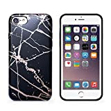 iPhone 7 case,iphone 8 case,CAOUME Black Rose Gold Marble Case Protective TPU Soft Rubber Silicone Cover Phone Case for Apple iPhone 7 (2016) / iPhone 8 (2017)