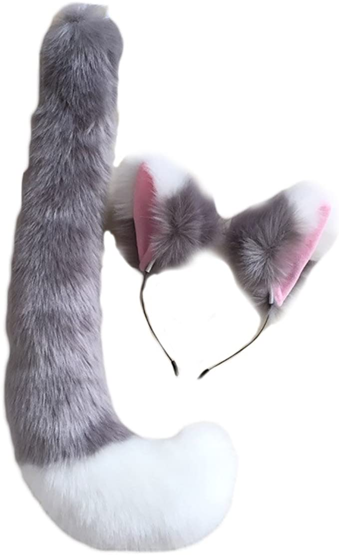 Anime Black Cat fox Plush Tail and 2 Ears set Cosplay Cosplay Animal Dress Gifts