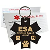 ESA Emotional Support Animal Identification Tag Pre-Engraved Medical Symbol Plastic Made in USA - Gloss Black - Small