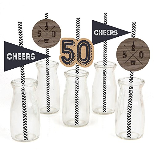 50th Milestone Birthday - Dashingly Aged to Perfection Paper Straw Decor - Birthday Party Striped Decorative Straws - Set of -