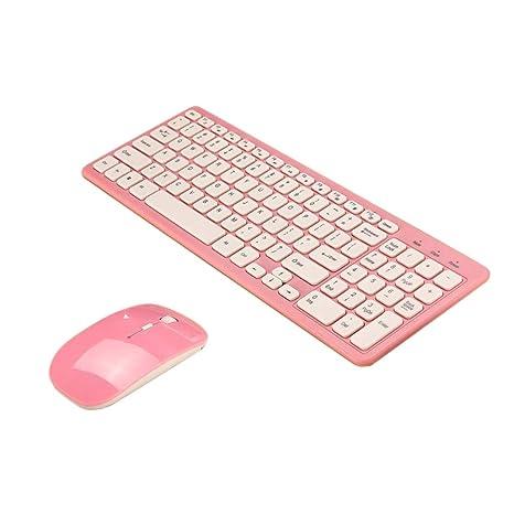 non-brand Sharplace Juego Delgado de Teclado Mouse Inalámbricos para Computadora Portátil Macbook - Rosa