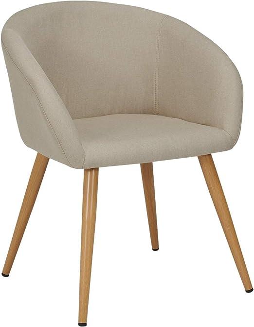 Polsterstuhl Esszimmerstuhl Stoff Leinen creme Armlehnstuhl Beine aus Holz