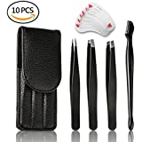 MiMoo Tweezers for Eyebows and Ingrown Hair Removal- 3 Piece Stainless Steel Precision Tweezers with Slant Tip, Flat Tip and Pointed Tips - with Eyebrow Razor and 3 Style Eyebrow Shaping Stencil