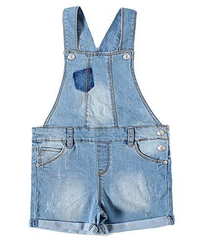 SNOW DREAMS Girls Denim Overalls Cotton Distressed Jeans Shortalls Light Blue Size 18M
