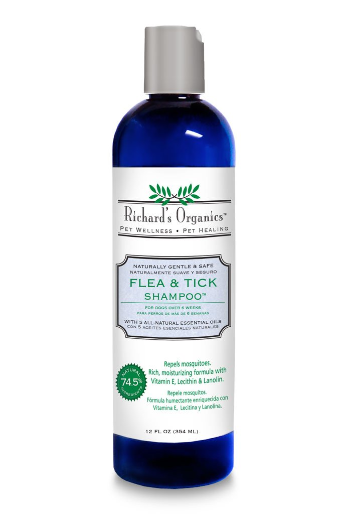 Richard's Organics Flea and Tick Shampoo for Dogs - 100% All-Natural Actives Kills Fleas, Ticks and Repels Mosquitos - Flea Shampoo is Gentle, Won't Dry Skin, Great Smelling Essential Oils (12oz bottle) by Richard's Organics