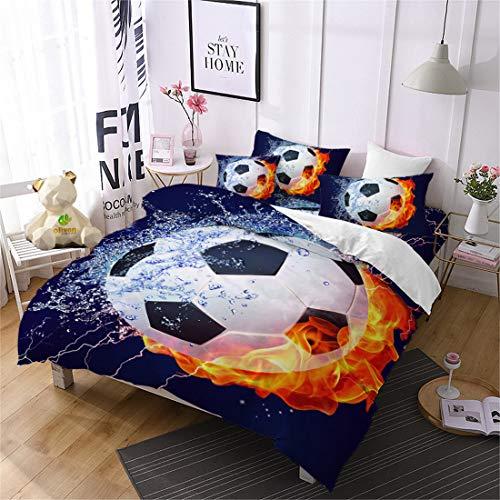 Oliven 3 Pcs Boys Bedding 3D Fire Soccer Duvet Cover Full Size Football Quilt Cover Kids Sports Bedding Bed Cover Set-No Comforter