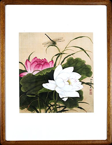 IglooArts- Giclee Print of Ancient Asian Paintings - Lotus Flower and Dragonfly - Yu Zhi - Price Cut by 30% for Holidays - Framed and Ready to Hang - - Flower Art Chinese Lotus