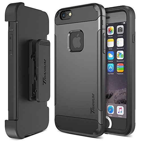 Price comparison product image Trianium iPhone 6 / 6s Case [Duranium Series] Holster Case For Apple iPhone 6 6s w/Built-in Screen Protector Heavy Duty + Ultra Protection Phone Cover [Black/Gunmetal](TM000180)