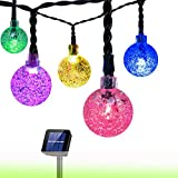 Solar String Light Globe,20ft 30 LED Solar Powered String Fairy Bubble Shaped Lights for Outdoor Party Wedding Garden Christmas Party Decor(Multicolor)