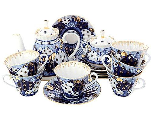 Lomonosov Porcelain Tea Set 6/14 Church Domes Orthodox Bells: Tea Pot, Sugar Bowl and 6 Cups with Saucers ()