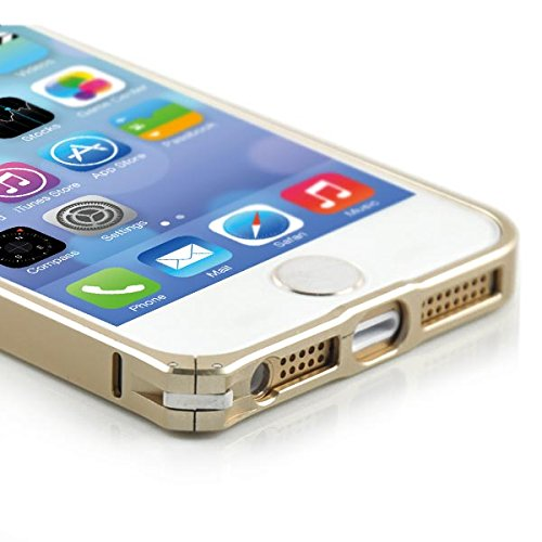 Apple iPhone 5 5S Bumper Case Slim Frame Rahmen 0,7 mm Free Clip Hülle Gold