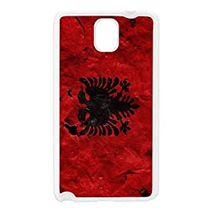 Grunge Paper Flag of Albania - Abanian Flag - Flamuri i Shqiperise White Silicon Rubber Case for Galaxy Note 3 by UltraFlags + FREE Crystal Clear Screen Protector