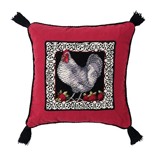C&F Home Opulent Rooster Needlepoint Pillow 16 x 16 -