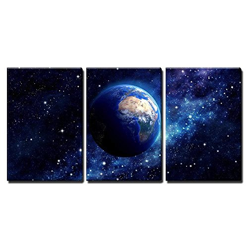 Imaginary View of Planet Earth in a Star Field Elements of This Image Furnished by Nasa x3 Panels