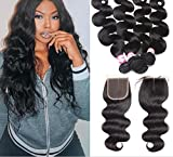 WIGABC 8A Virgin Remy Hair Brazilian Body Wave 100 Human Hair Weave Bundles Natural Color Double Weft with Closure 300-400 Grams (16 18 20 with 14 Closure)