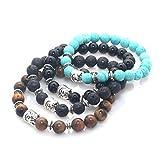 MayaBracelets Buddha Head Charm Marble Stone Elastic Bracelet