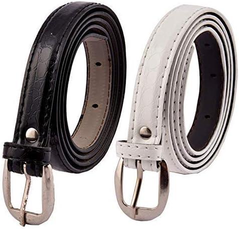 Uniq World Women's,Ladies's,Girl's Belt For Jeans Women's Belt For Casual/Formal Dresses Combo of 2pack Free Size (Black-White Combo Belt)(Fit On Upto 34 Inch Belt)