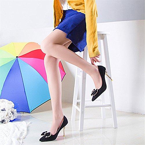 LIVY La nueva multa puntas con los zapatos de tacón alto atractivo del club nocturno zapatos ultra altos con zapatos de las mujeres del arco de metal Negro