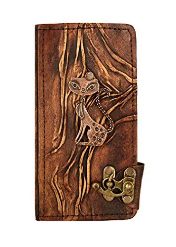 """A Little Present """", handgemacht, Vintage-Stil, mit Anhänger"""" Happy Cat Klappetui aus Leder mit Schloss für iPhone 6 Plus, braun"""